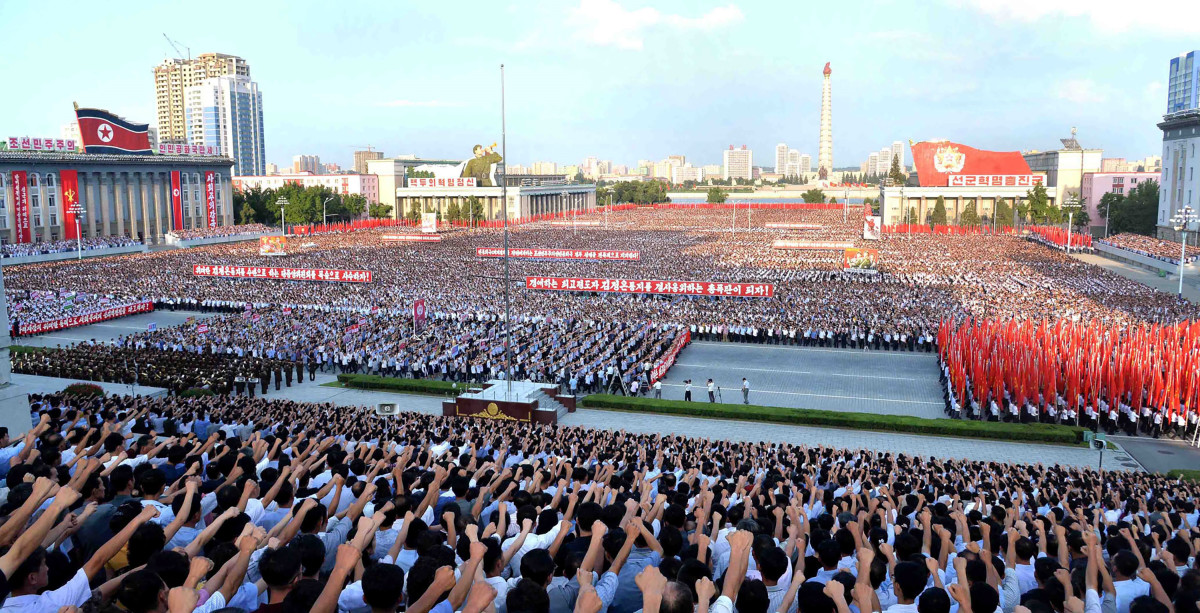 This picture taken on August 9th, 2017, shows a rally in support of North Korea's stance against the U.S., on Kim Il-Sung square in Pyongyang. North Korea.