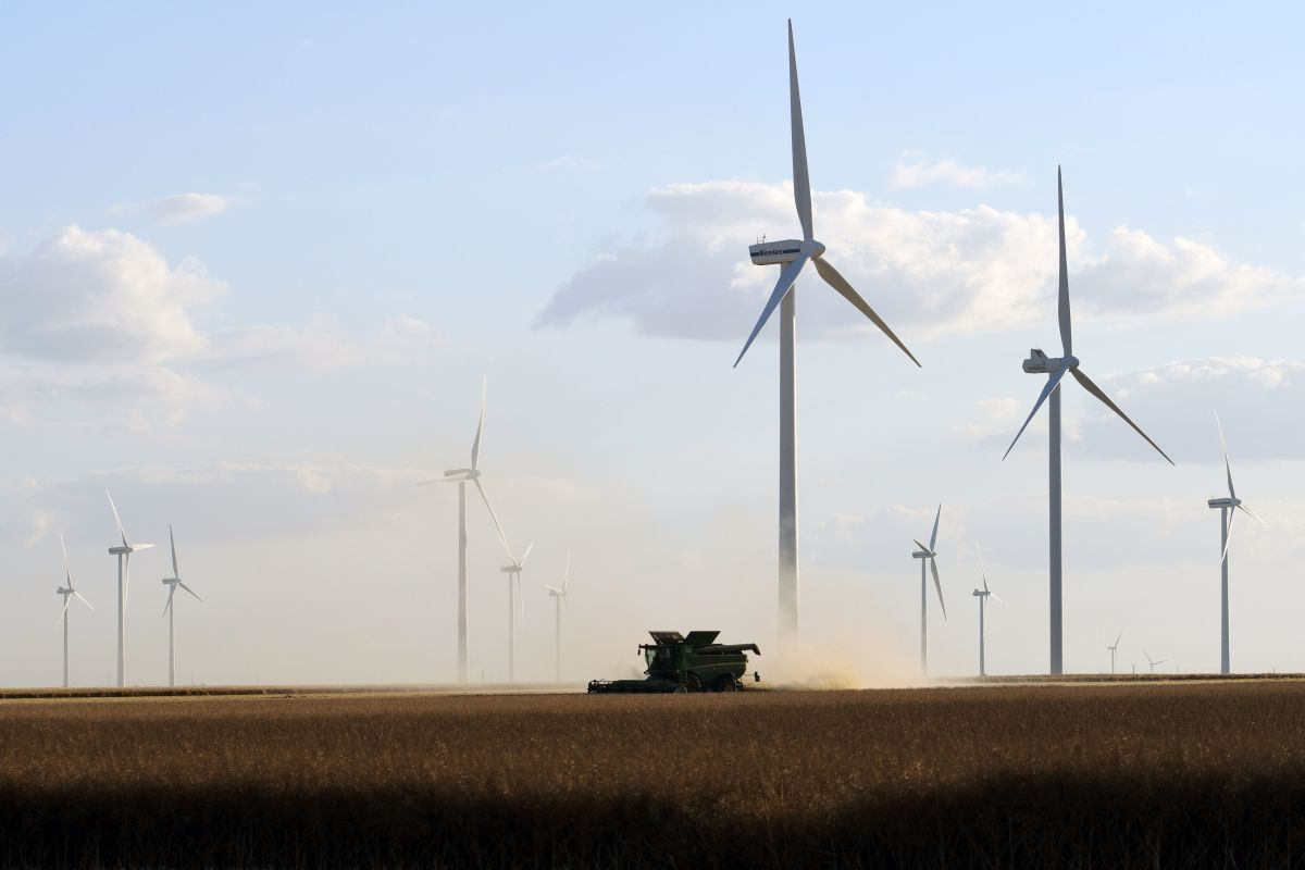 Wind turbines.