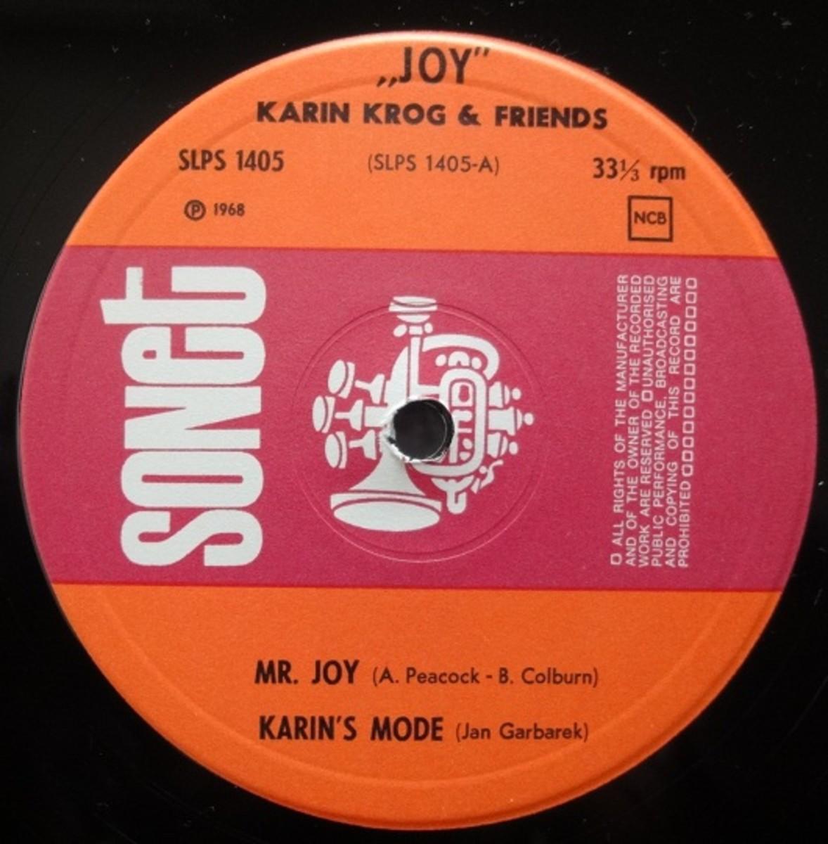 Karin Krog's formative jazz album Joy, on vinyl.