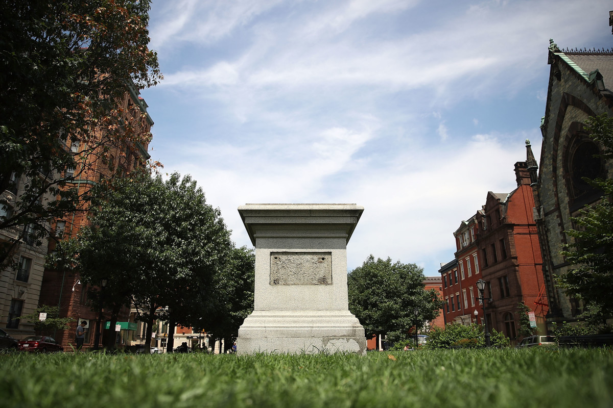 An empty pedestal remains where a statue of Roger B. Taney, former Chief Justice of the U.S. Supreme Court and majority author of the Dred Scott decision, once was before city workers removed the statue on August 16th, 2017, in Baltimore, Maryland.