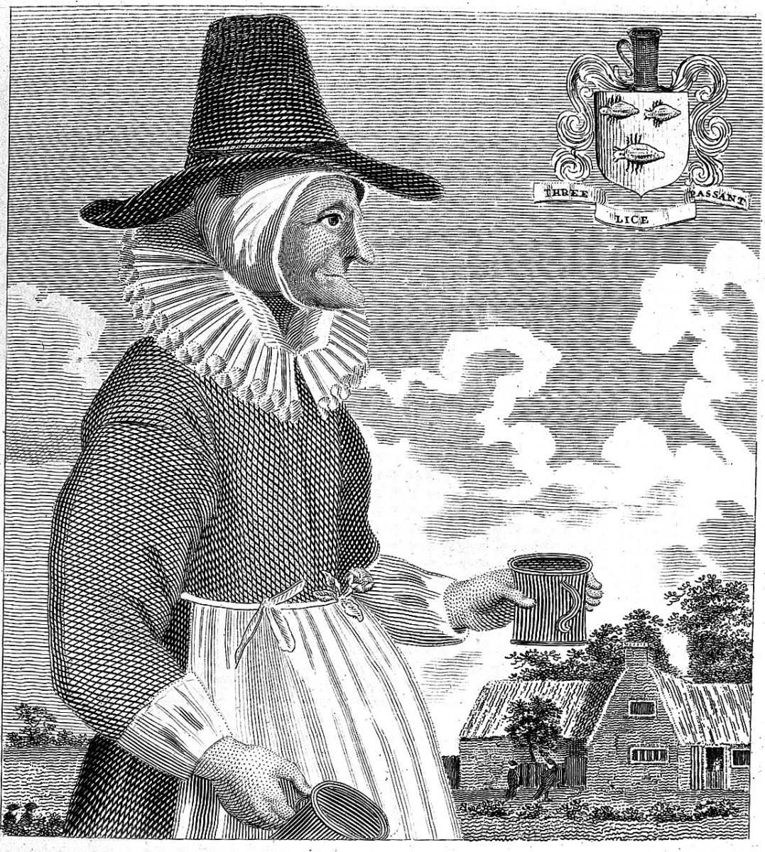 A woodcut of Mother Louise, a popular 17th-century alewife in England.