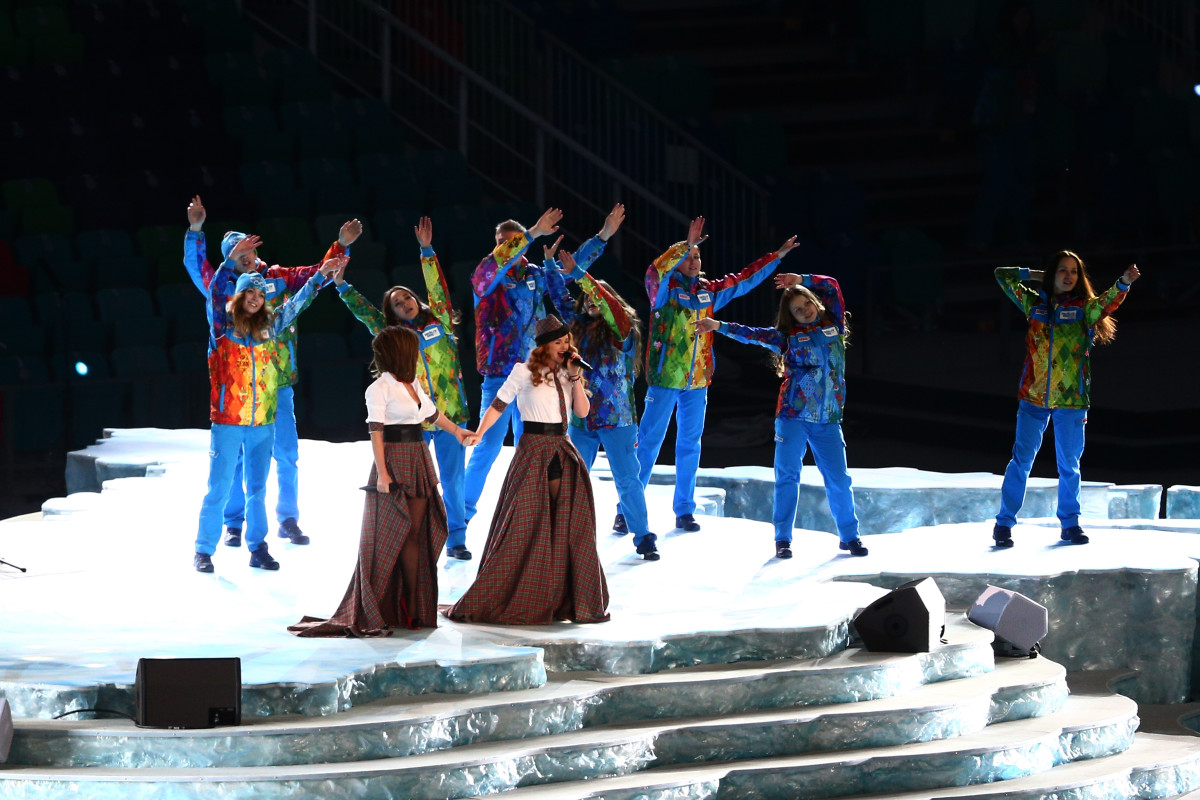 Julia Volkova and Lena Katina of t.A.T.u perform during the Opening Ceremonies at the 2014 Winter Olympics at Fisht Olympic Stadium on February 7th, 2014, in Sochi, Russia.