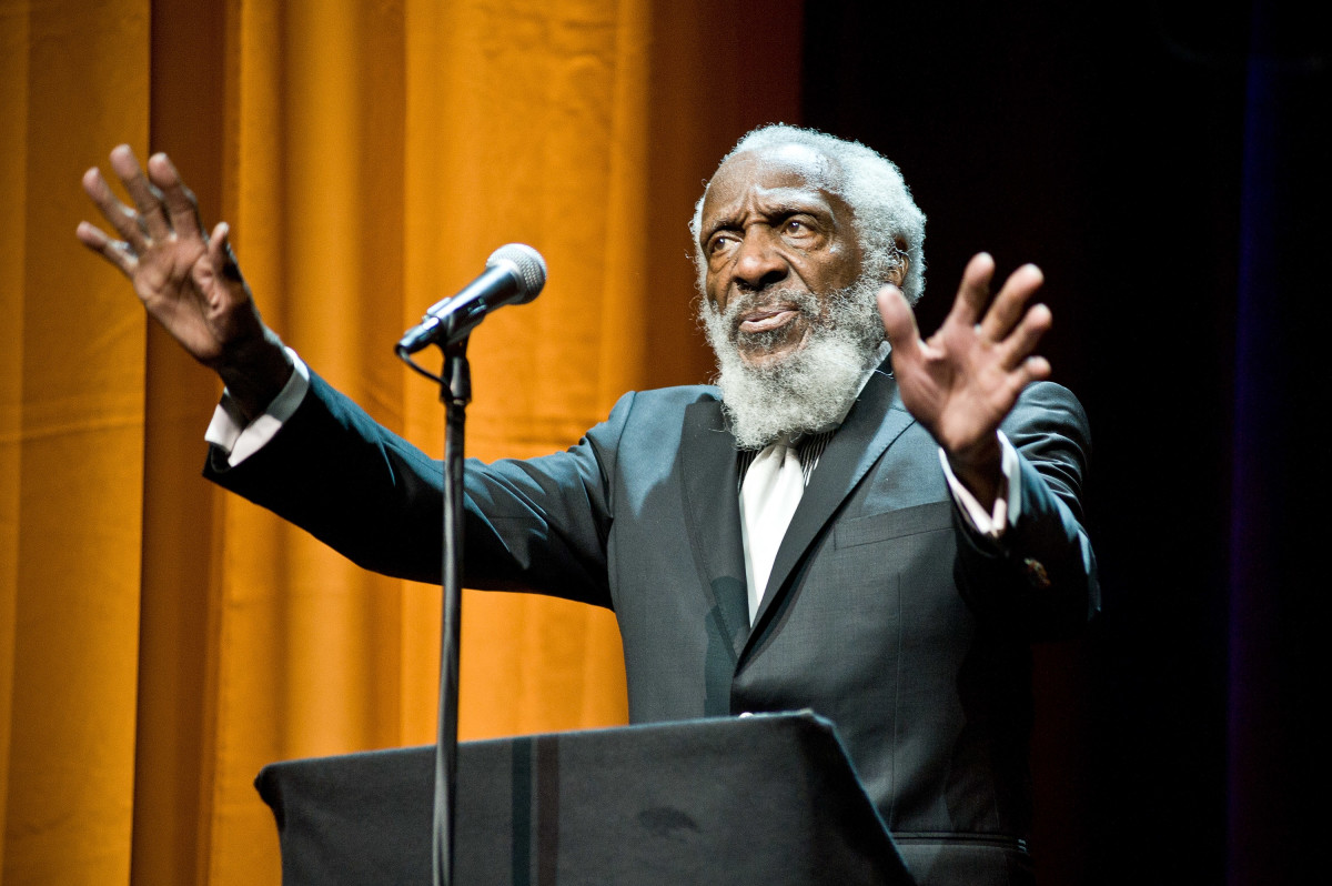Dick Gregory attends the Roger Ebert Memorial Tribute at Chicago Theatre on April 11th, 2013, in Chicago, Illinois.