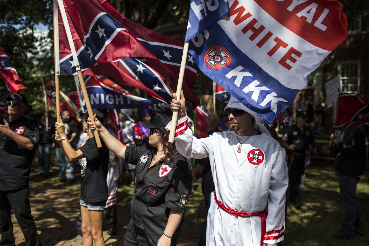 The Ku Klux Klan protests in Charlottesville, Virginia. The KKK is protesting the planned removal of a statue of General Robert E. Lee, and calling for the protection of Southern Confederate monuments.