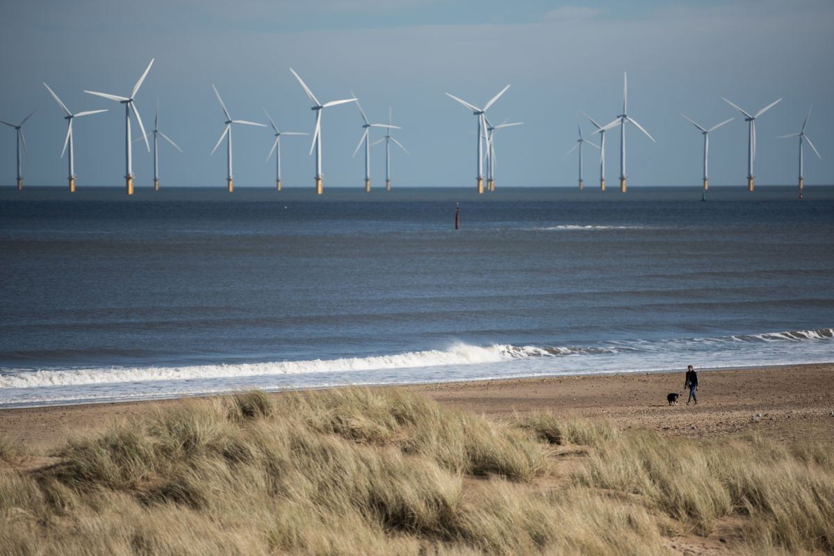 A woman walks her dog along the beach in front of an off-shore wind farm near Hartlepool in northern England on March 8th, 2017.