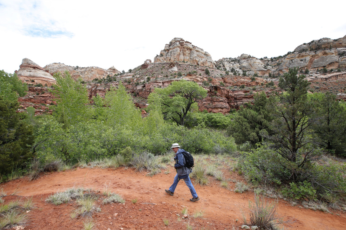 A hiker makes his way up a trail to Calf Creek in the Grand Staircase-Escalante National Monument on May 10th, 2017, outside Boulder, Utah.