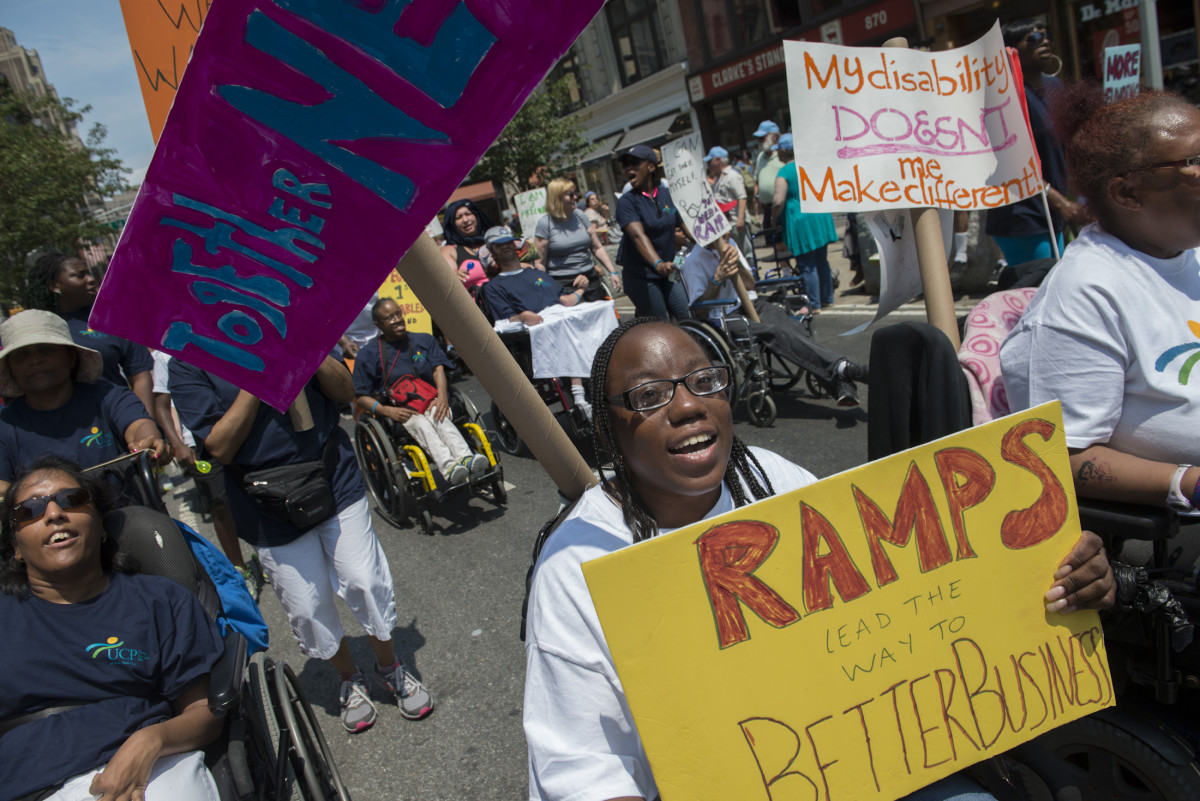 People participate in the first annual Disability Pride Parade on July 12th, 2015, in New York City.