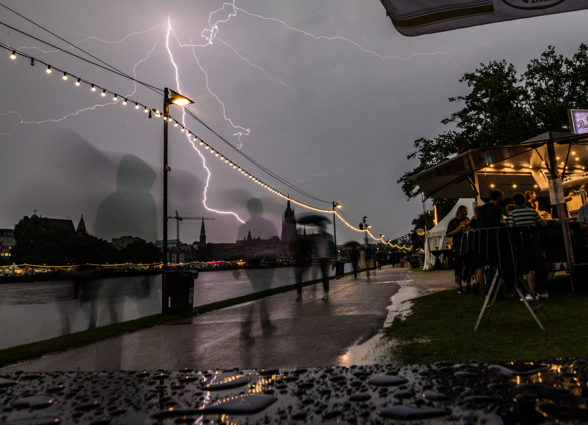 Lightning strikes in Frankfurt, Germany, on August 25th, 2017, during a summer rain storm.