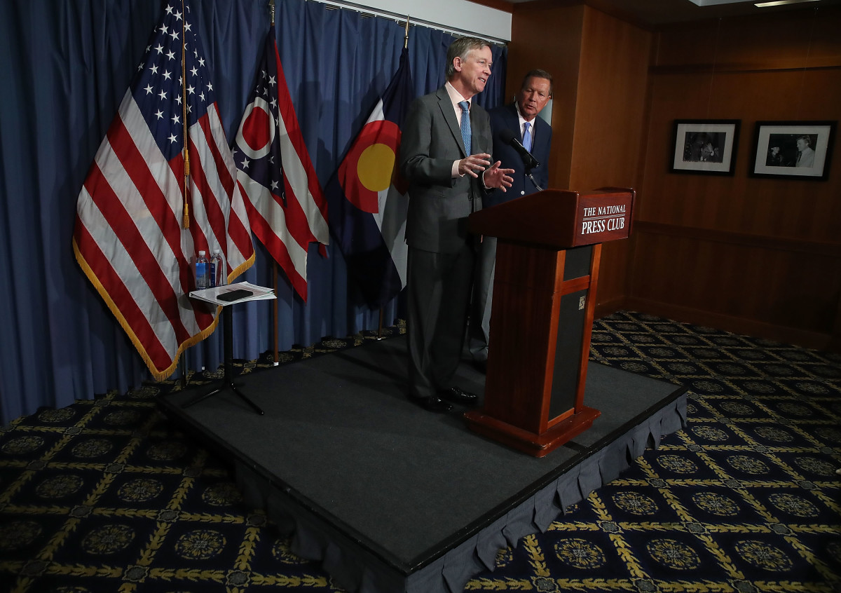 Governor John Hickenlooper (D-Colorado) and Governor John Kasich (R-Ohio) participate in a bipartisan news conference to discuss the Senate health-care reform bill at the National Press Club on June 27th, 2017, in Washington, D.C.
