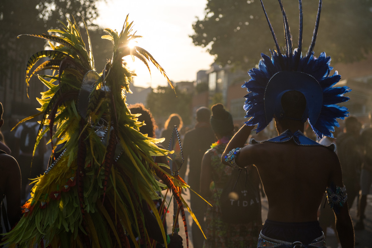 Performers and revelers make their way home at the end of the Notting Hill Carnival on August 28th, 2017, in London, England. The Notting Hill Carnival has taken place since 1966 and now has an attendance of over two million people.