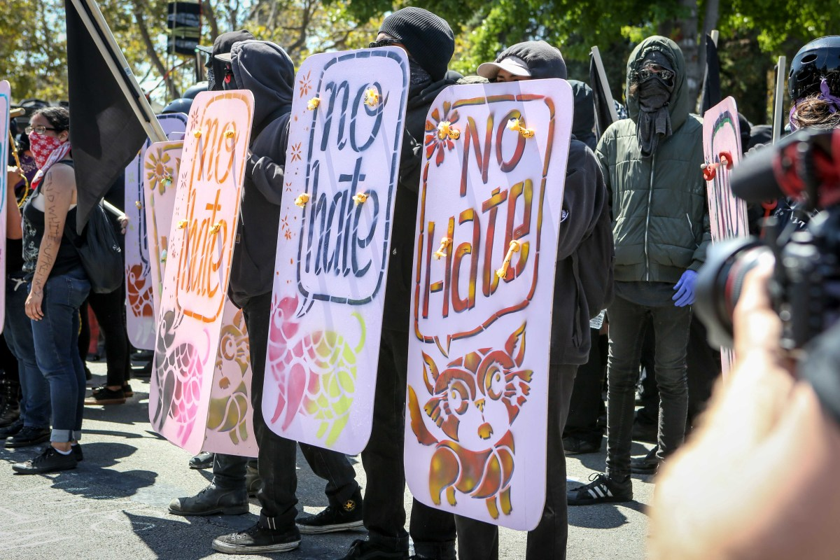 Antifa members gather to protest the right-wing No to Marxism rally in Berkeley, California, on August 27th, 2017.