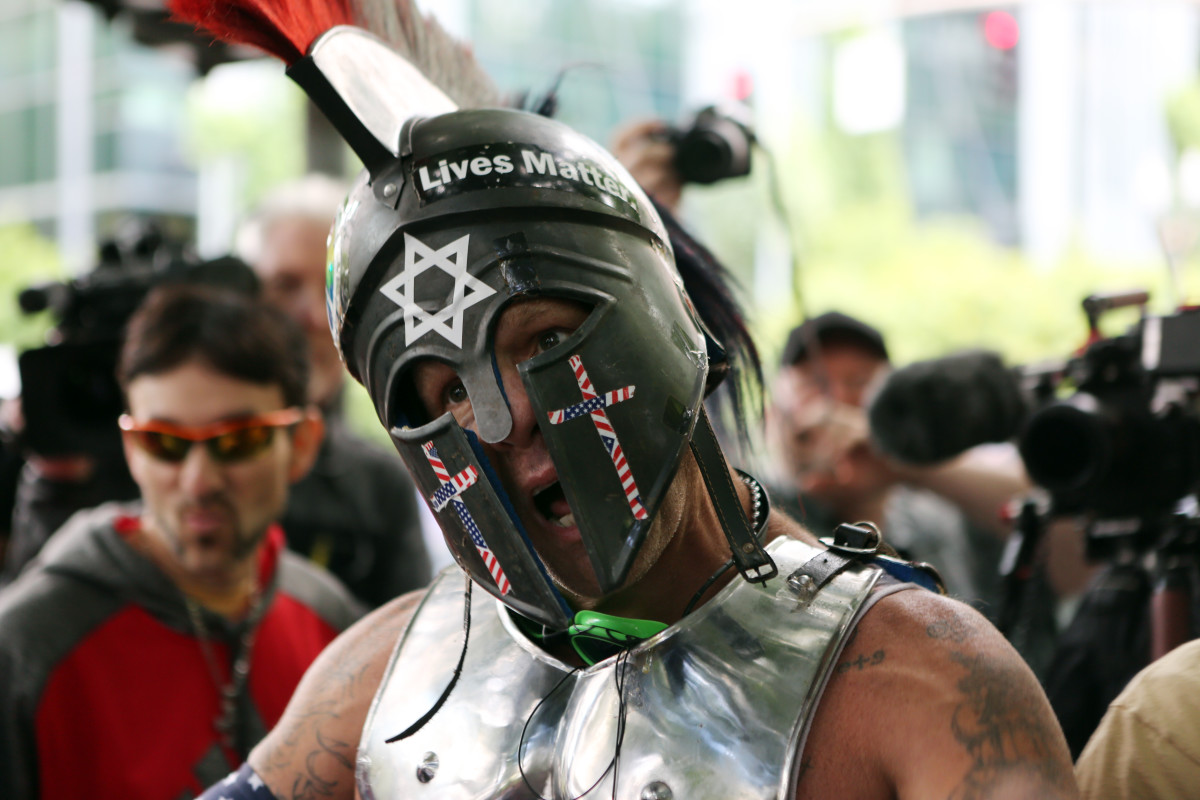 "Alt-right demonstrator Kyle ""Based Stickman"" Chapman at a rally on June 4th, 2017, in Portland, Oregon."