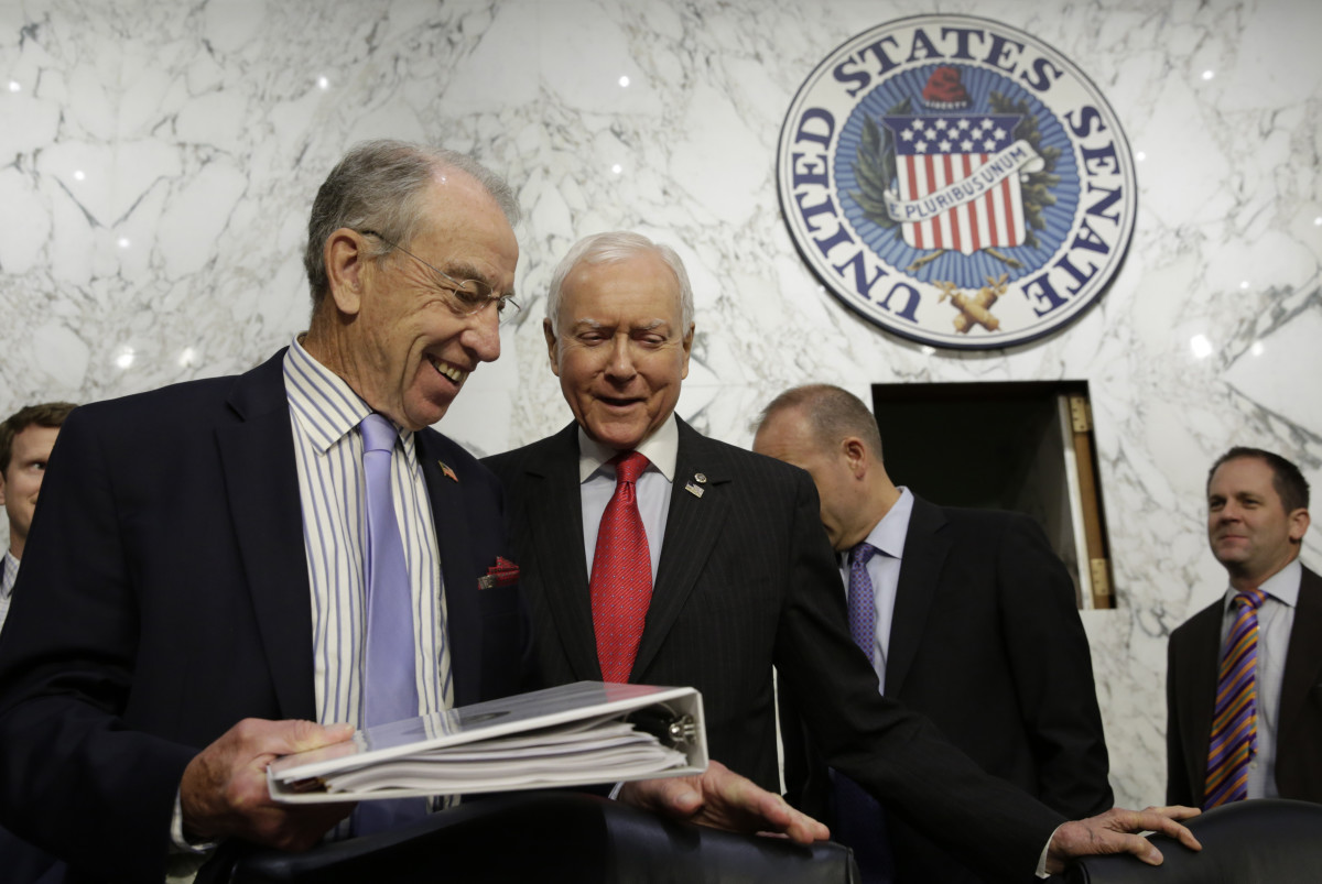 Senate Judiciary Committee Chairman Charles Grassley and Senator Orrin Hatch arrive at the Senate Judiciary Committee Full committee hearing on Capitol Hill in Washington, D.C., on July 26th, 2017.