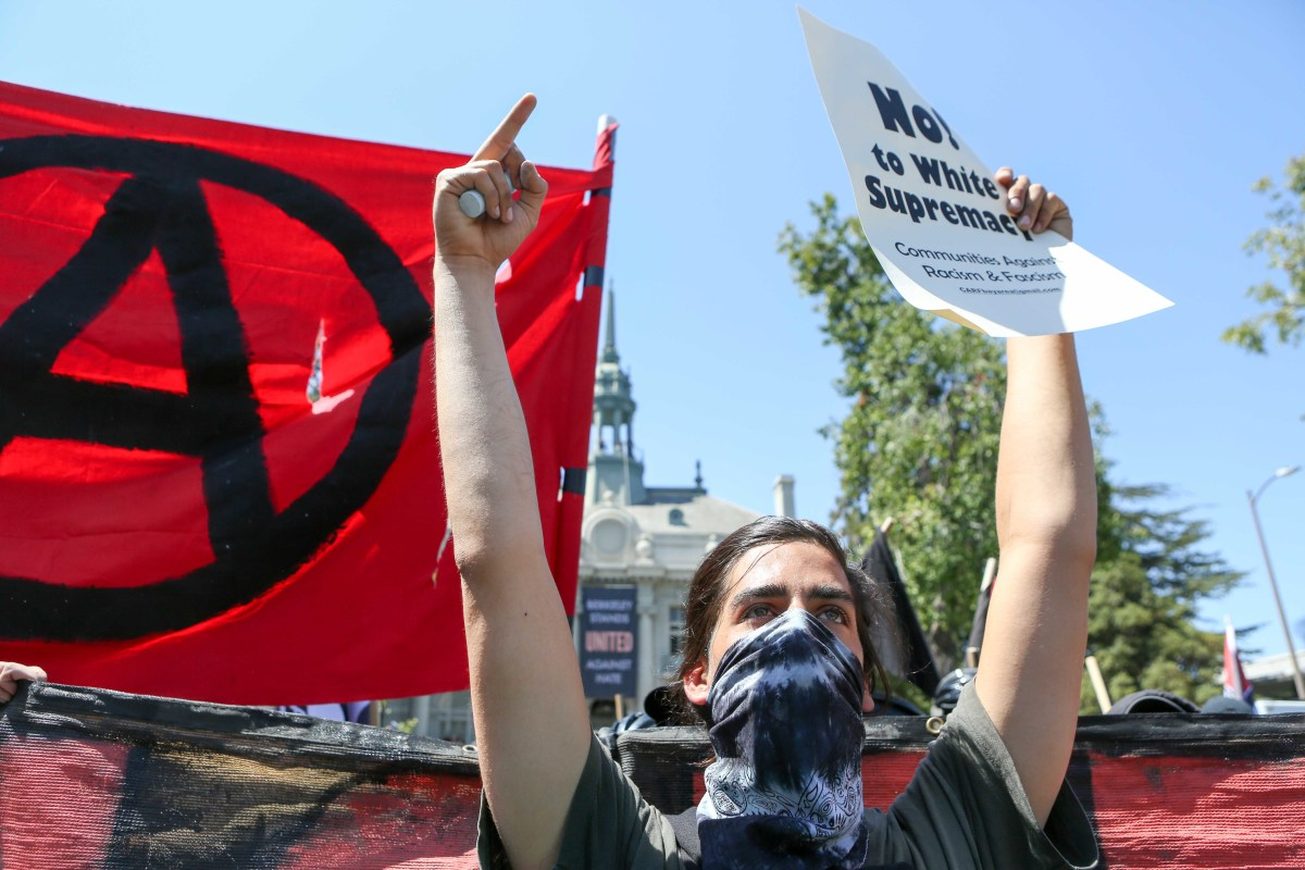 Antifa members and counter-protesters gather during a rightwing No-to-Marxism rally on August 27th, 2017, at Martin Luther King Jr. Park in Berkeley, California.