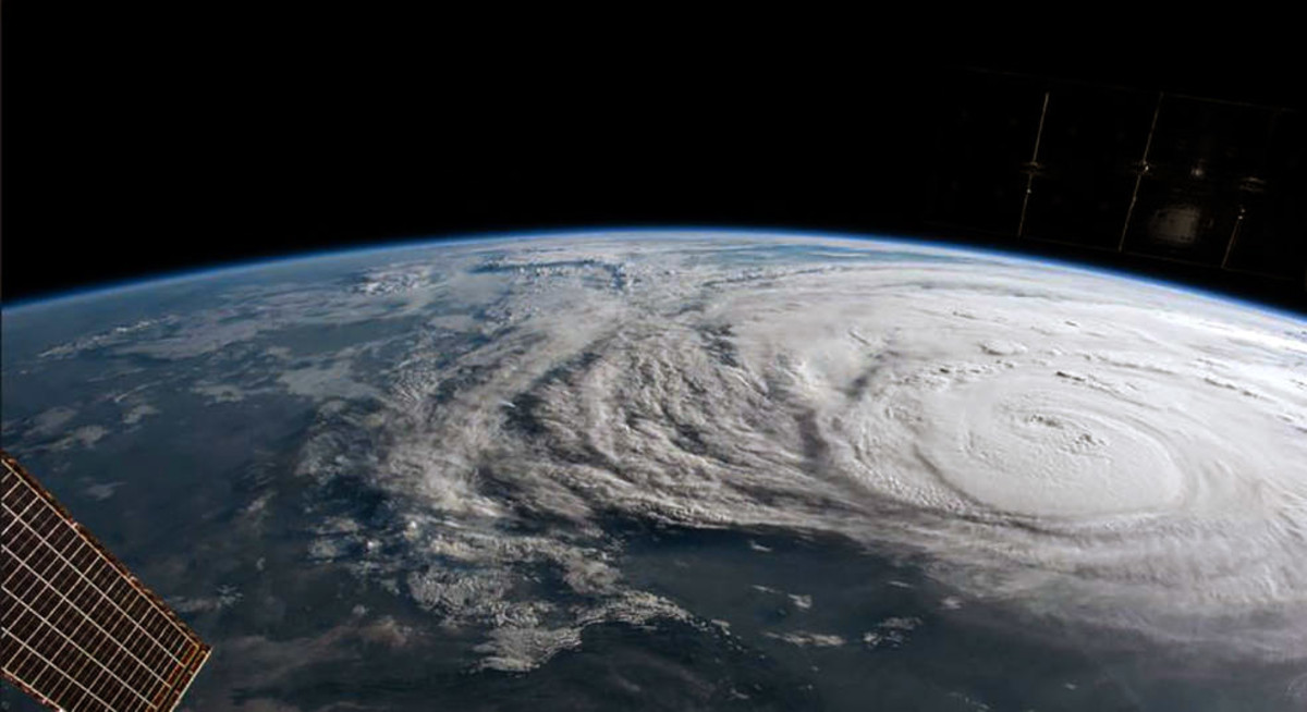 Hurricane Harvey is photographed from the International Space Station as it intensified on its way toward the Texas coast on August 25th, 2017.