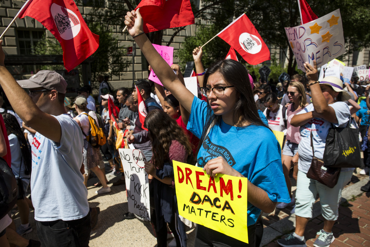 Demonstrators march in response to the Trump administration's announcement that it would end the Deferred Action for Childhood Arrivals program on September 5th, 2017, in Washington, D.C.