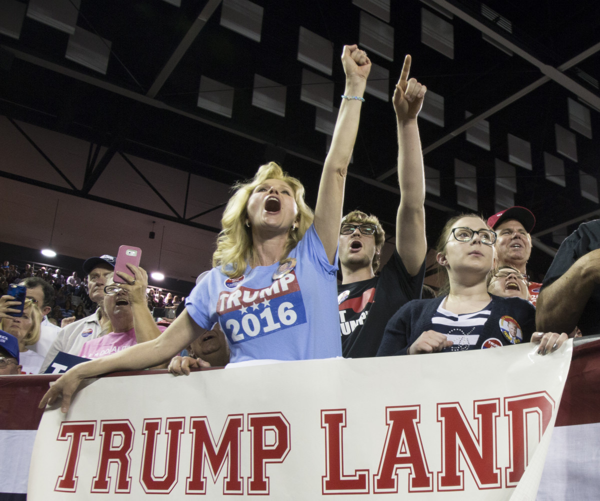 Supporters of Donald Trump react as he speaks during a rally at Valdosta State University, on February 29th, 2016, in Valdosta, Georgia.
