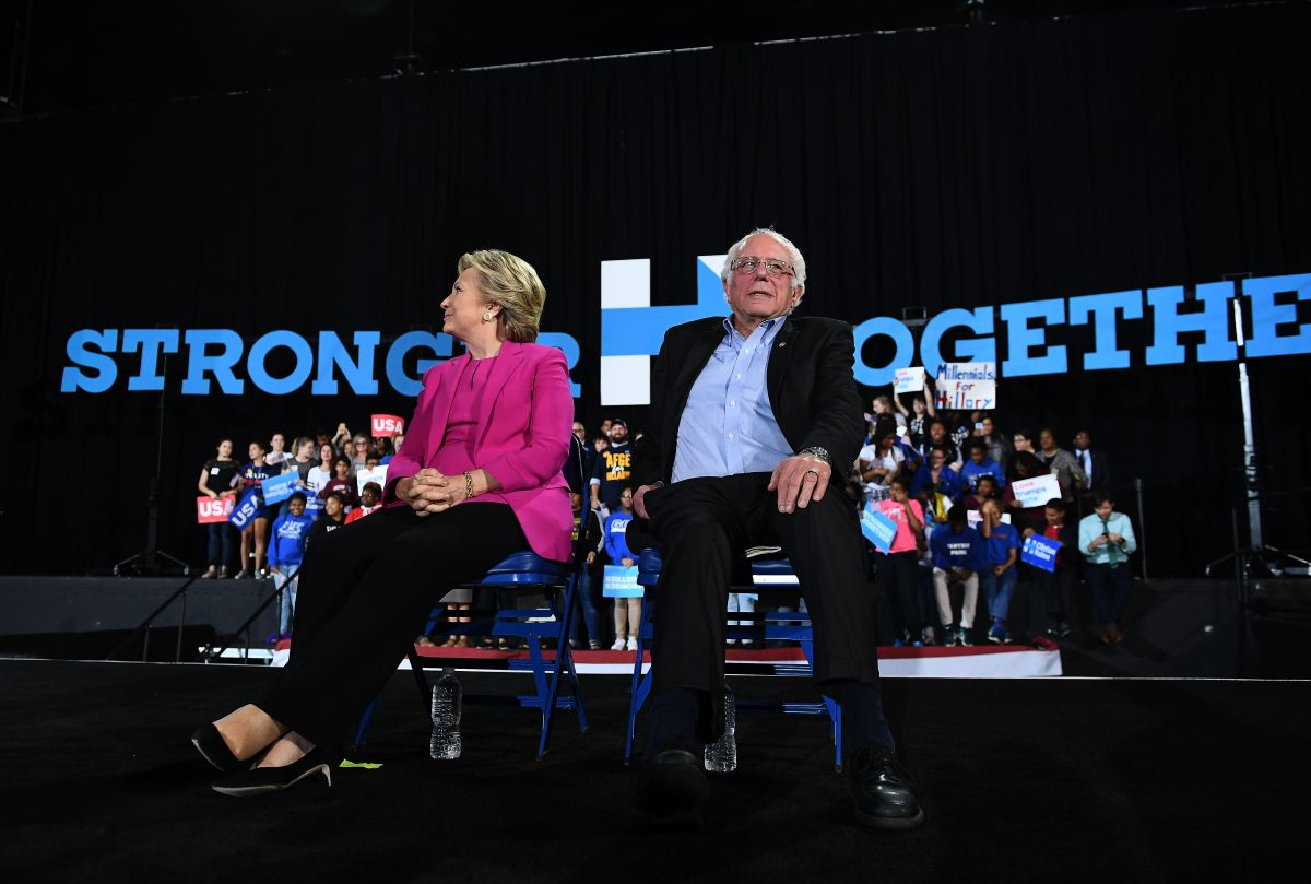Hillary Clinton and Bernie Sanders during a campaign rally in Raleigh, North Carolina, on November 3rd, 2016.