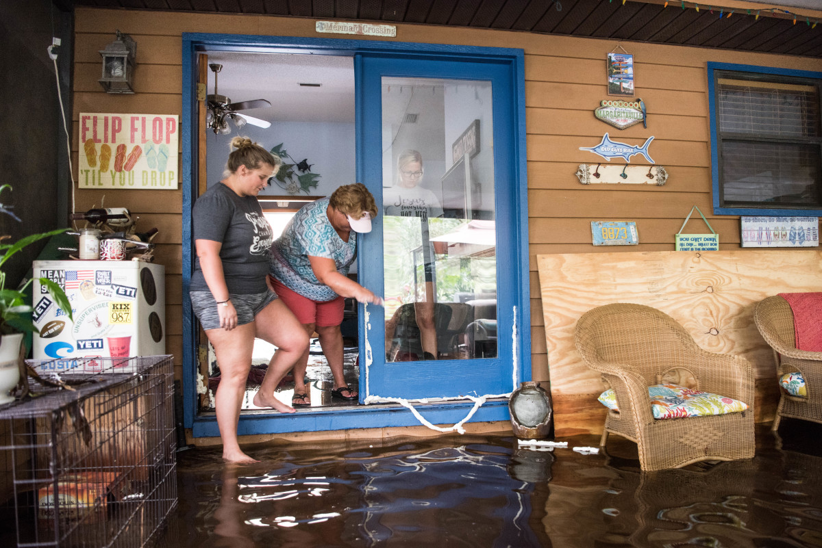 A house is inundated by flood waters caused by Hurricane Irma on September 12th, 2017, near Palatka, Florida.