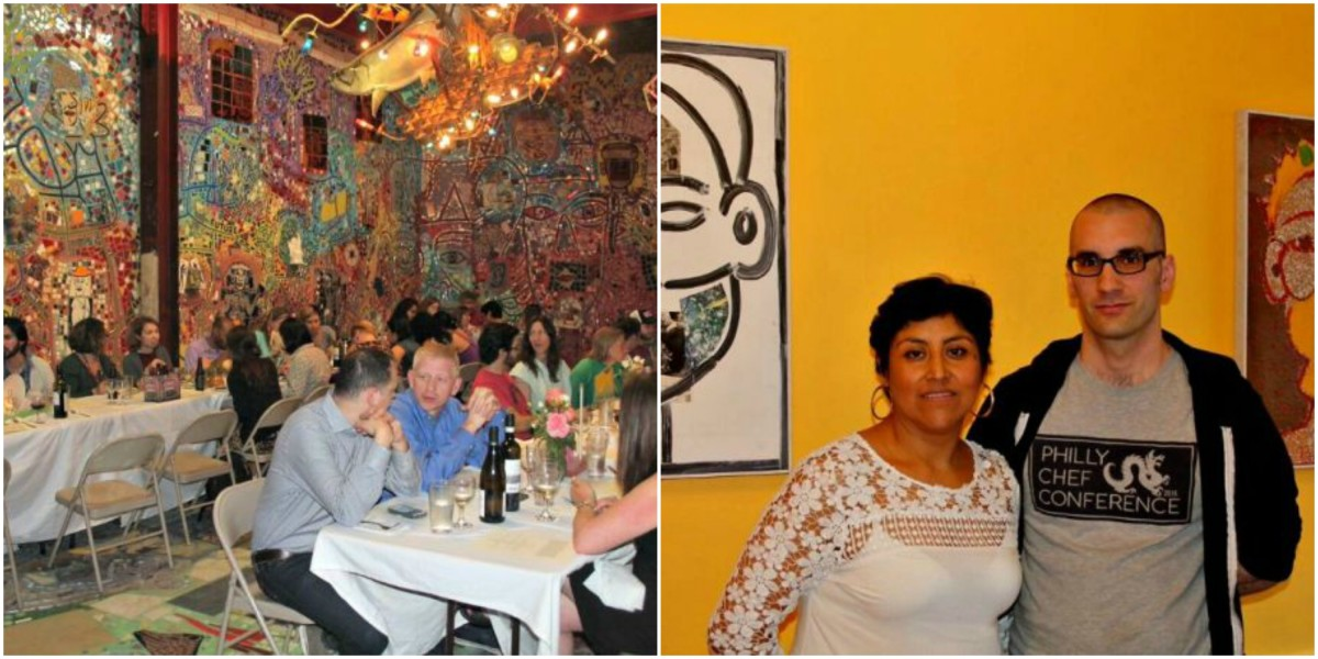 Left: In April, South Philly Barbacoa hosted one of its Right to Work dinners at Isaiah Zagar's warehouse. | Cristina Martinez and Ben Miller, owners of South Philly Barbacoa.