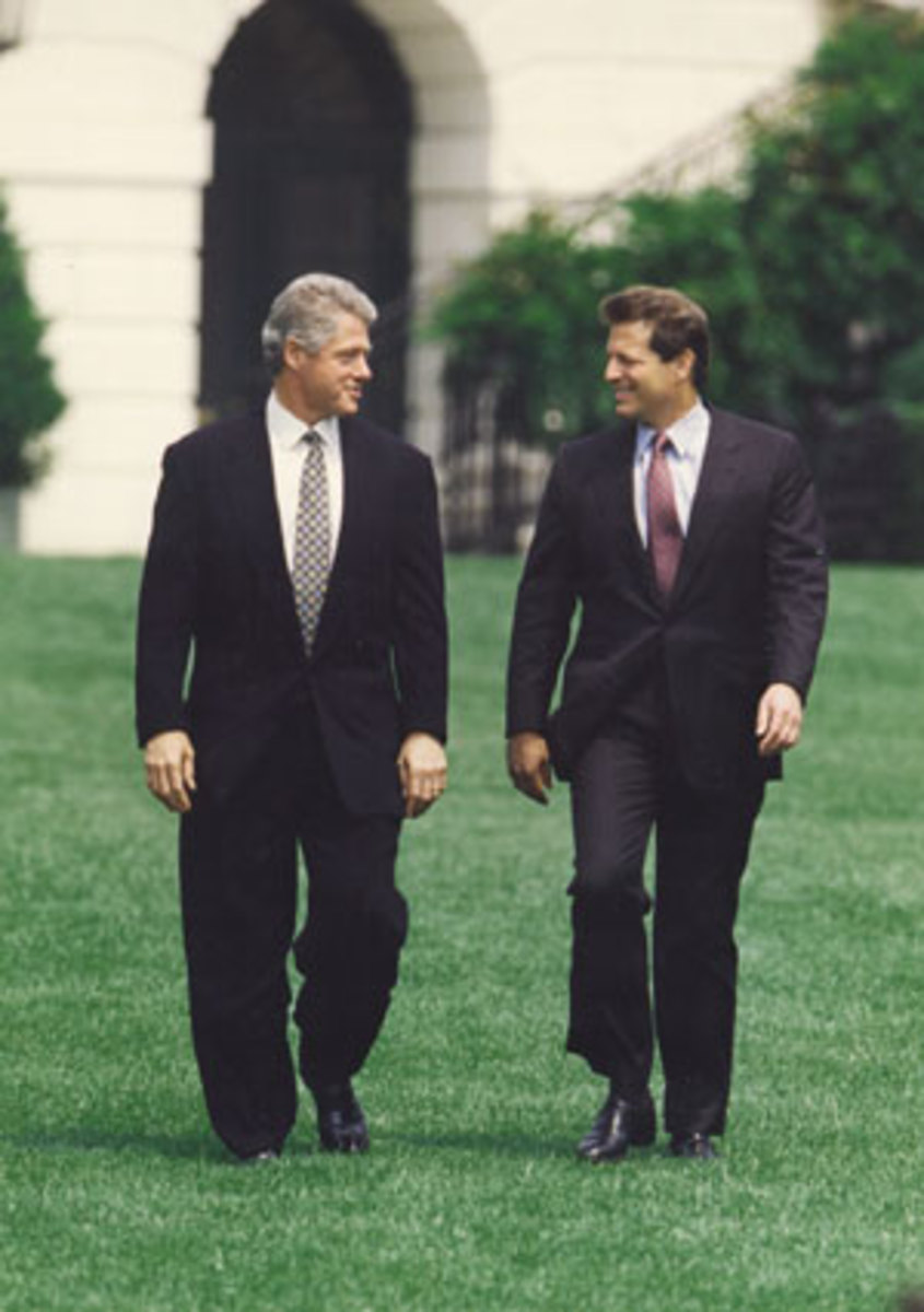 President Bill Clinton and Vice President Al Gore on the South Lawn on August 10th, 1993.