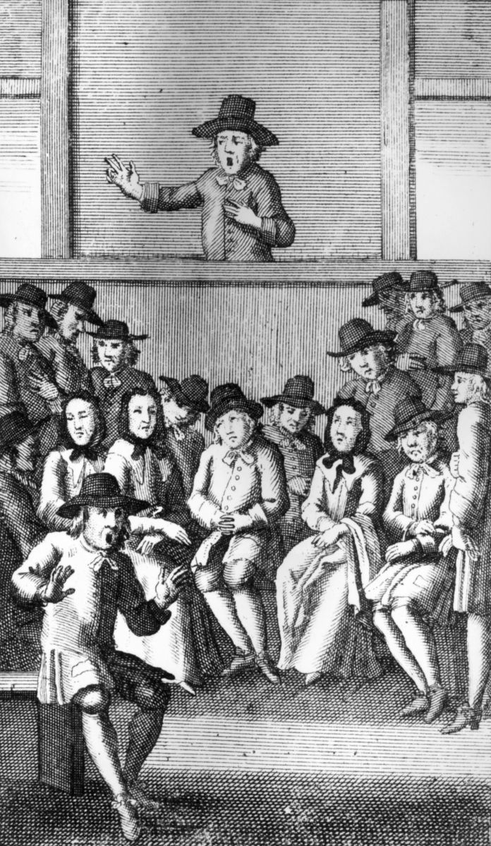 A man addresses a meeting of the Quakers in 1719.