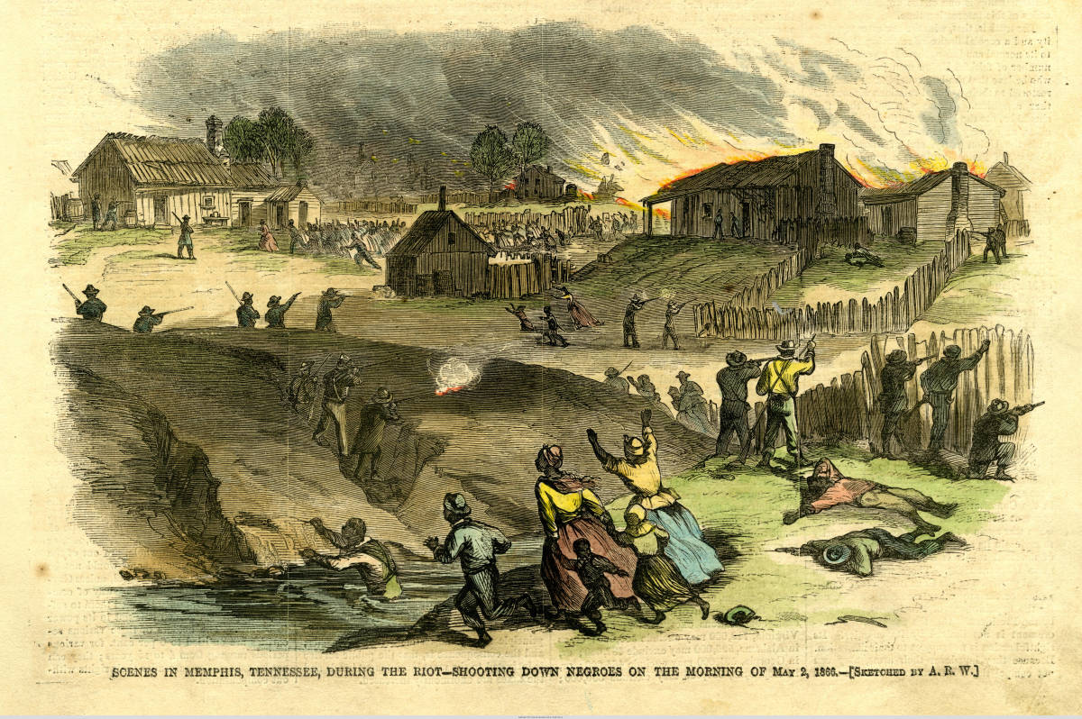 Illustration in Harper's Weekly of the Memphis Massacre of 1866.