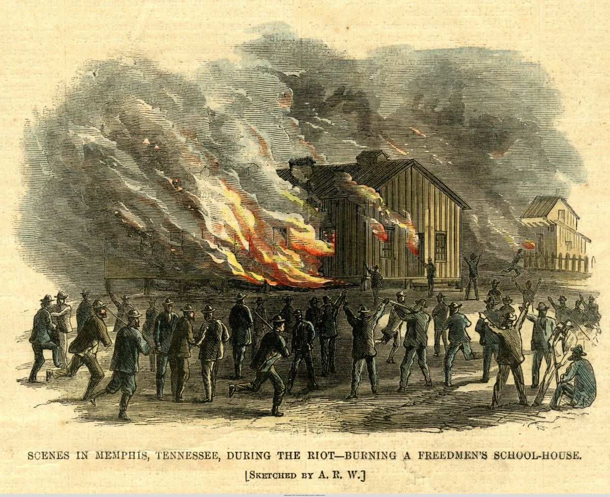 A Freedmen's Bureau schoolhouse is burned during the Memphis Massacre of 1866.