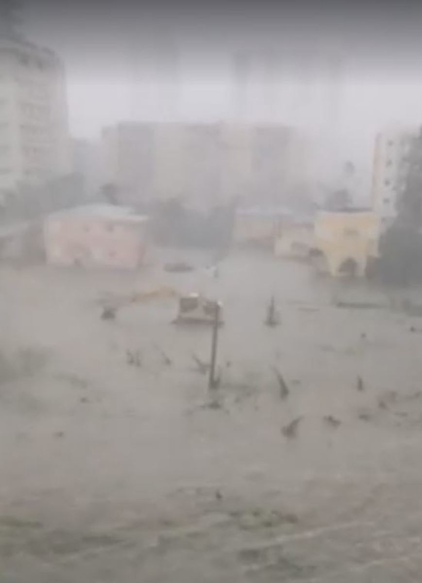 In a video grab from a cell phone, a flooded street is seen as Hurricane Irma moves through Miami, Florida, on September 10th, 2017.