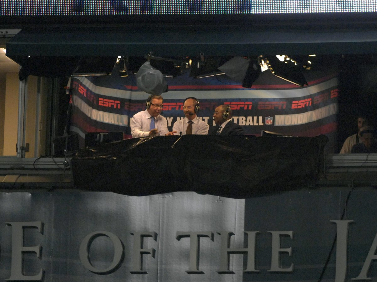 The ESPN broadcast booth at the Jacksonville Municipal Stadium on October 22nd, 2007.