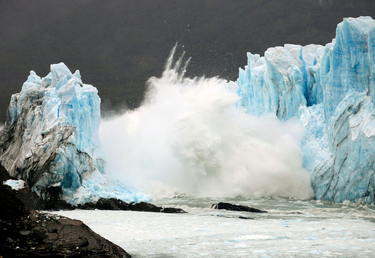 An ice bridge cracks from the wall of the Perito Moreno Glacier located at Los Glaciares National Park, in southwest Santa Cruz Province, Argentina, on March 10th, 2016.
