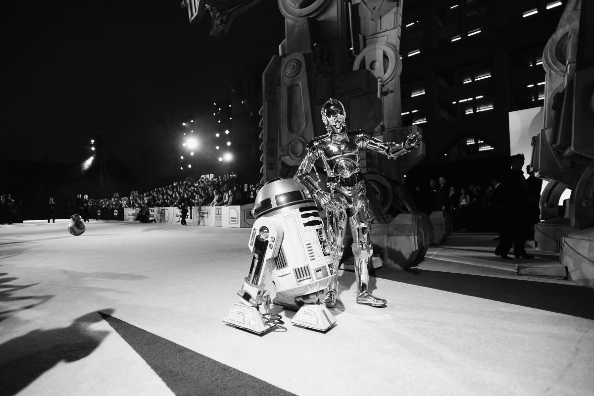R2-D2 and C-3PO at the world premiere of Lucasfilm's Star Wars: The Last Jedi at The Shrine Auditorium on December 9th, 2017, in Los Angeles, California.