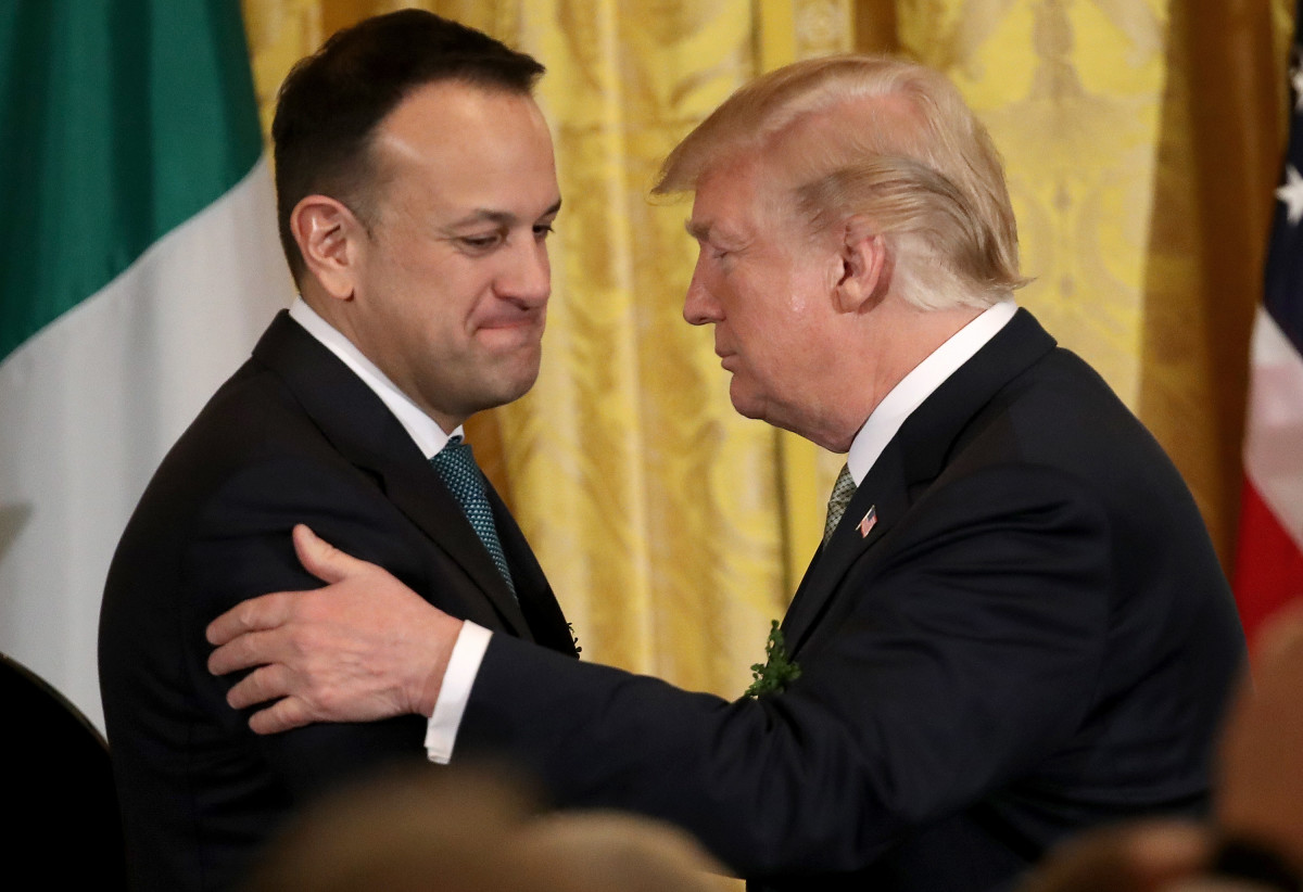 President Donald Trump embraces Irish Prime Minister Leo Varadkar at the White House on March 15th, 2018, in Washington, D.C.