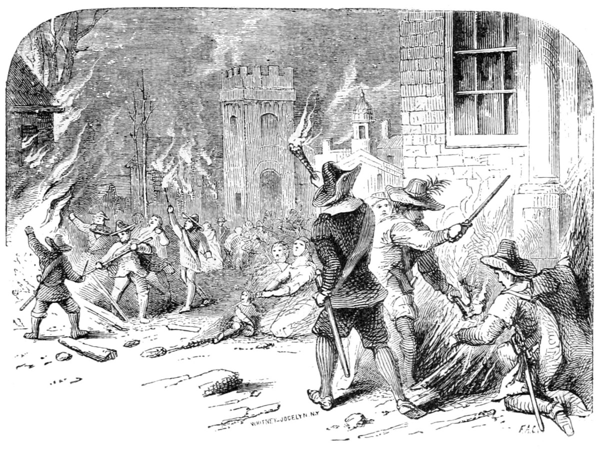 A 19th-century engraving depicting the burning of Jamestown, Virginia, during Bacon's Rebellion.