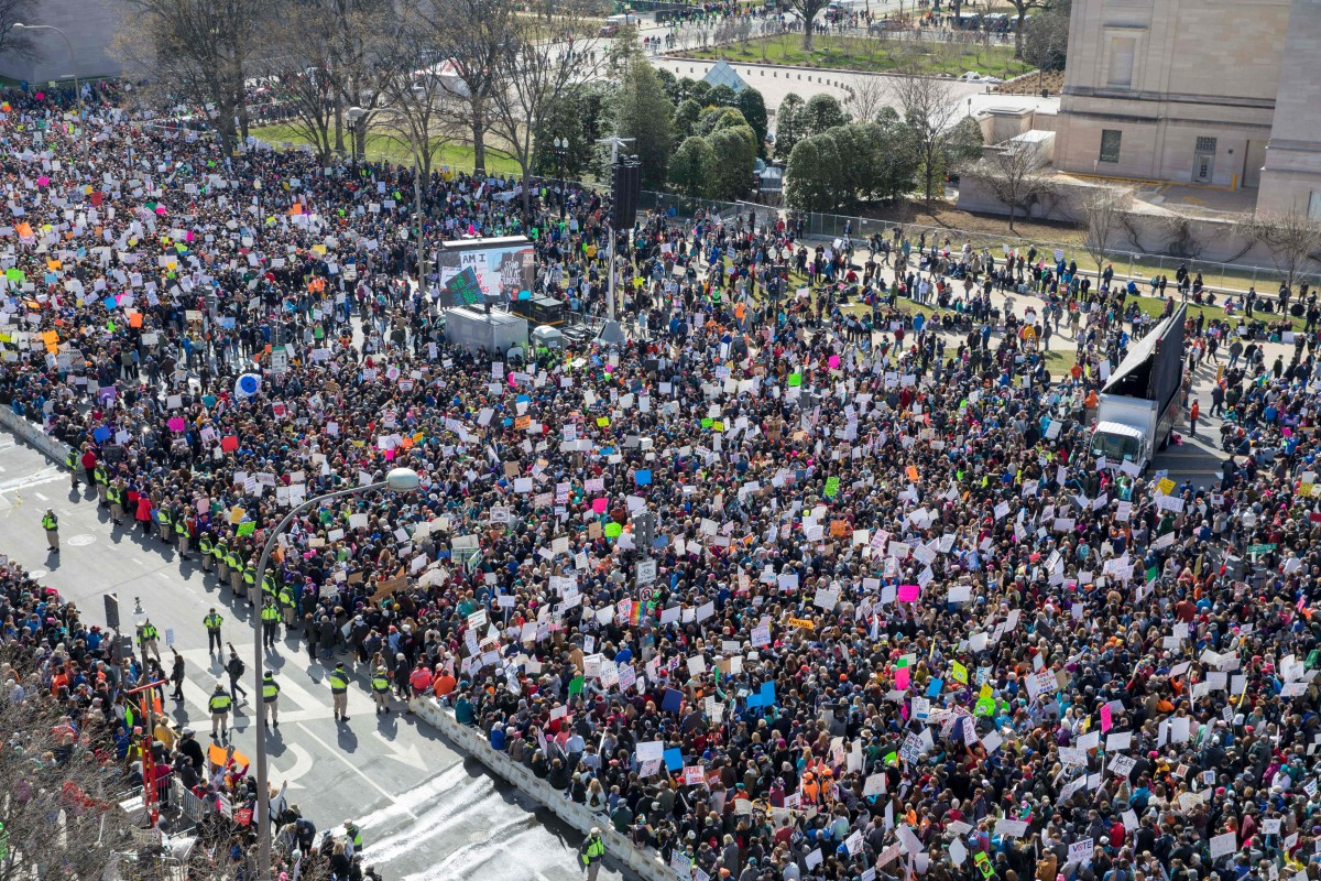 The crowd at the March for Our Lives rally as seen from the roof of the Newseum in Washington, D.C., on March 24th, 2018. Galvanized by a massacre at a Florida high school, hundreds of thousands of Americans are expected to take to the streets in cities across the United States on Saturday in the biggest protest for gun control in a generation.