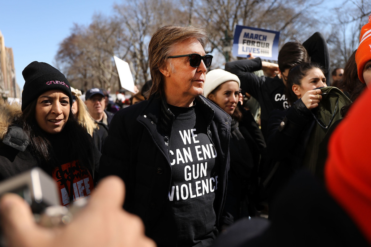 Sir Paul McCartney joins thousands of people, many of them students, during a march against gun violence in Manhattan for the March for Our Lives rally on March 24th, 2018. More than 800 March for Our Lives events, organized by survivors of the Parkland, Florida, school shooting on February 14th that left 17 dead, are taking place around the world to call for legislative action to address school safety and gun violence.