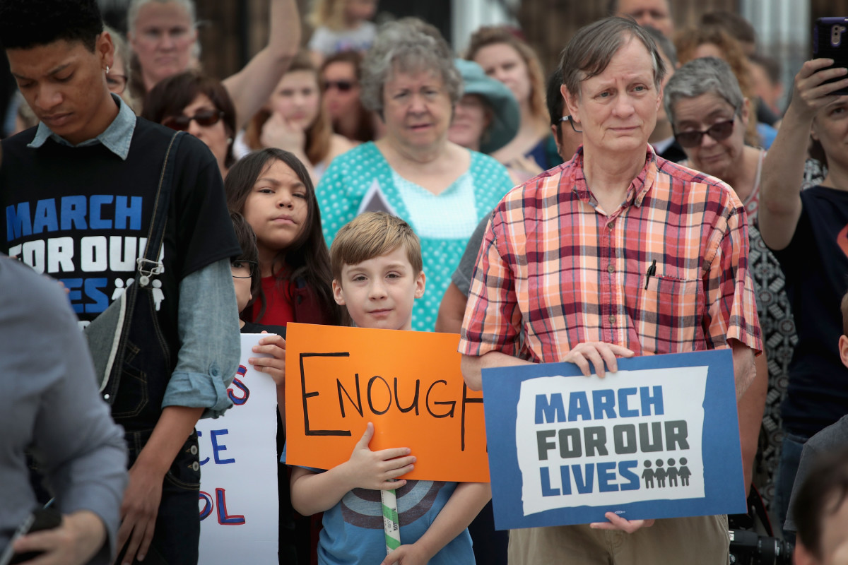 Demonstrators participate in a March for Our Lives rally on March 24th, 2018, in Pflugerville, Texas. More than 800 March for Our Lives events, organized by survivors of the Parkland, Florida, school shooting on February 14th that left 17 dead, are taking place around the world to call for legislative action to address school safety and gun violence.