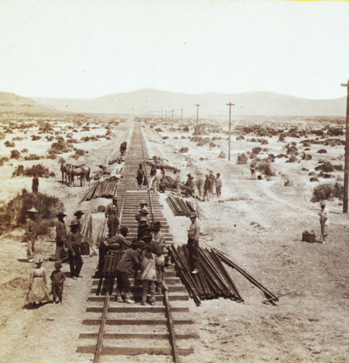 Numerous Chinese immigrants worked for the Central Pacific Railroad in the mid-1800s. Some are shown here installing tracks through Nevada's Humboldt Plains.