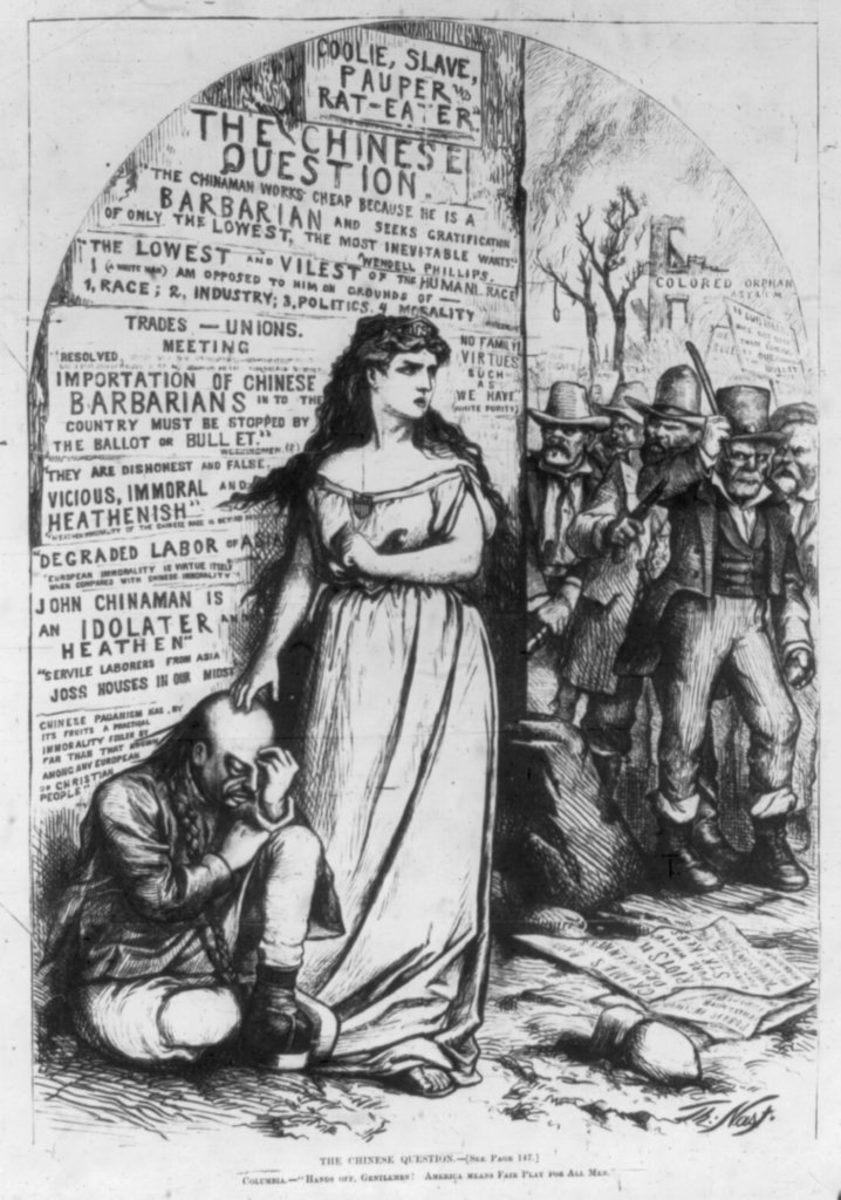 "In 1871, Harper's Weekly published this cartoon showing racist quotes on a backdrop behind Columbia, who personified the U.S., and a Chinese man. The venerable woman tells the threatening mob: ""Hands off, gentlemen! America means fair play for all men."""