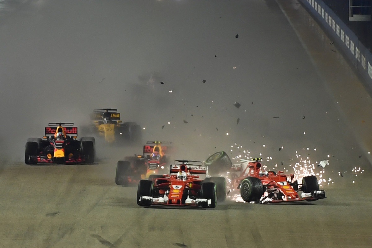 A crash occurs during the Formula One Singapore Grand Prix in Singapore on September 17th, 2017.