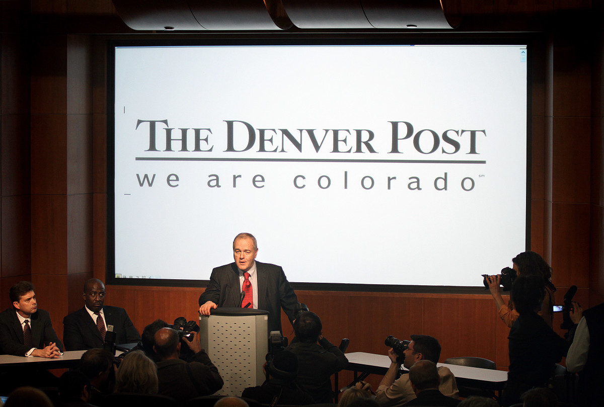 Dean Singleton, publisher of the Denver Post, addresses the media about the announced closure of the Rocky Mountain News, on February 26th, 2009, in Denver, Colorado.
