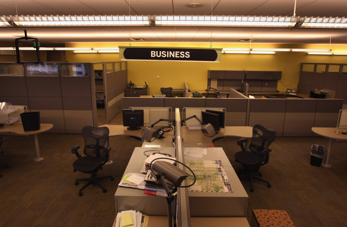 A section of the Rocky Mountain News newsroom sits empty on February 27th, 2009, in Denver, Colorado.