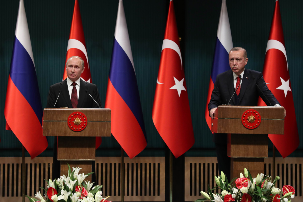 Russian President Vladimir Putin and Turkish President Recep Tayyip Erdogan hold a joint press conference after their meeting at the Presidential Complex in Ankara, on April 3rd, 2018. Putin launched the construction of Turkey's first nuclear power station and vowed to accelerate the delivery of air defense systems to Ankara in a new tightening of an increasingly close alliance that has alarmed the North Atlantic Treaty Organization.