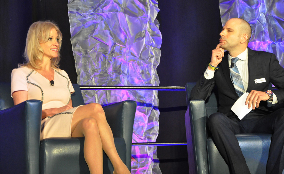 White House Senior Counselor Kellyanne Conway speaks with Doug Edwards, director of the Institute for the Advancement of Behavioral Healthcare, at the National Rx Drug Abuse & Heroin Summit in Atlanta, Georgia, on April 4th, 2018.
