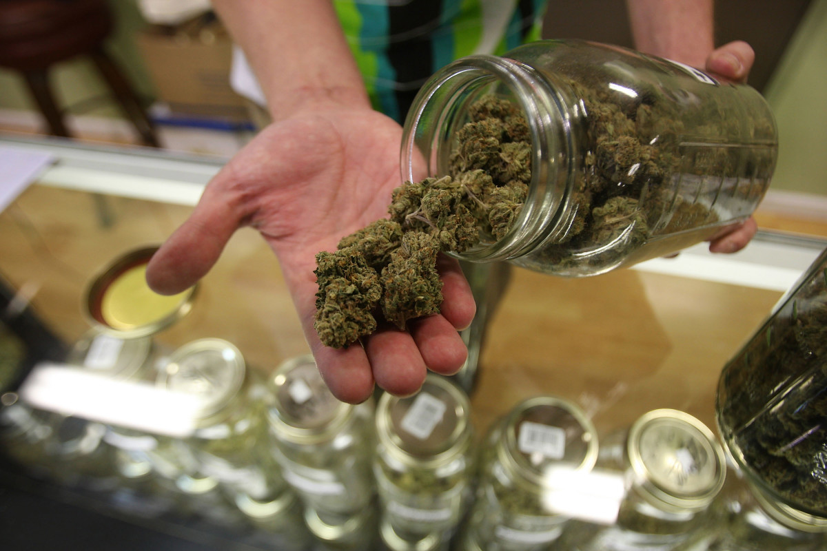 Marijuana on display at a dispensary in Los Angeles, California.