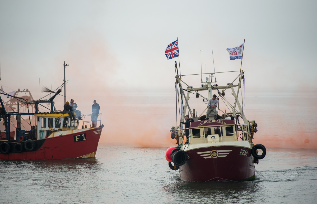 Flares are fired and a flotilla of boats head out of Whitstable Harbour as fishermen take part in a nationwide protest on April 8th, 2018, against the Brexit deal in Whitstable, England.