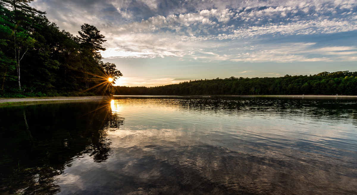 Walden Pond at sunset, July 29th, 2017.