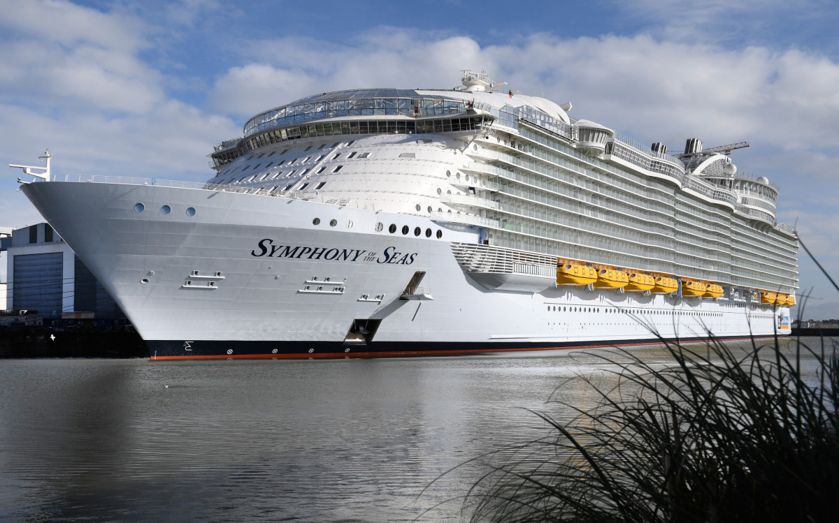 Royal Caribbean's new Oasis-class cruise ship, Symphony of the Seas, the largest passenger ship ever to be constructed by gross tonnage and built by French shipyard STX, is pictured on February 13th, 2018, in the port of Saint-Nazaire, France.