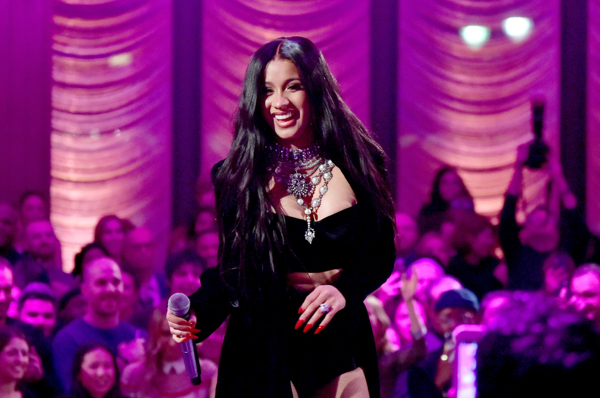 Cardi B performs onstage during the Warner Music Group Pre-Grammy Party on January 25th, 2018, in New York City.