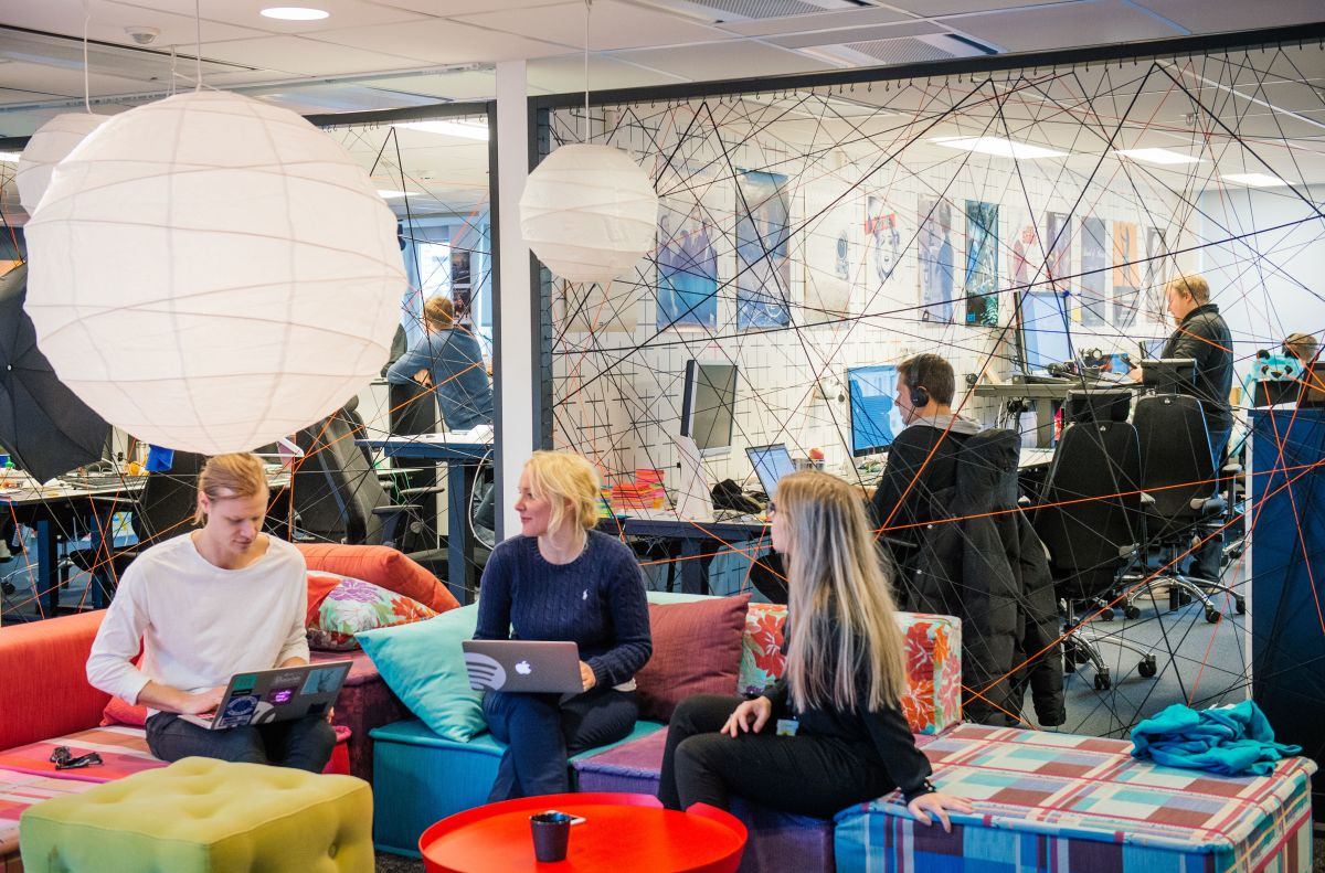 Employees work at the Spotify headquarters in Stockholm, Sweden, on February 16th, 2015.